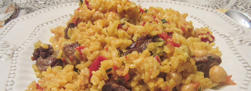 Lamb & Roasted Red Pepper Paella