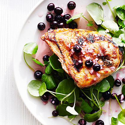 Grilled Chicken with Pickled Blueberries